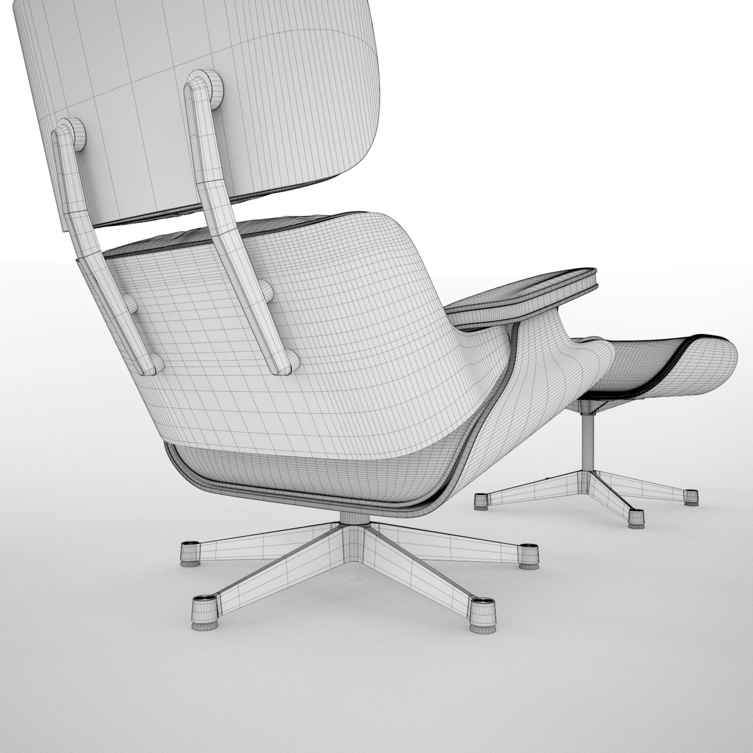 Vitra lounge eames chair hi poly 3d model c4d for Vitra lounge chair nachbau