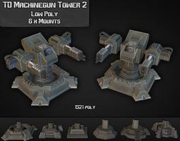 3d asset td machinegun tower 02 game-ready