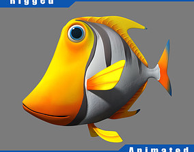 Cartoon fish03 rigged animated 3D model