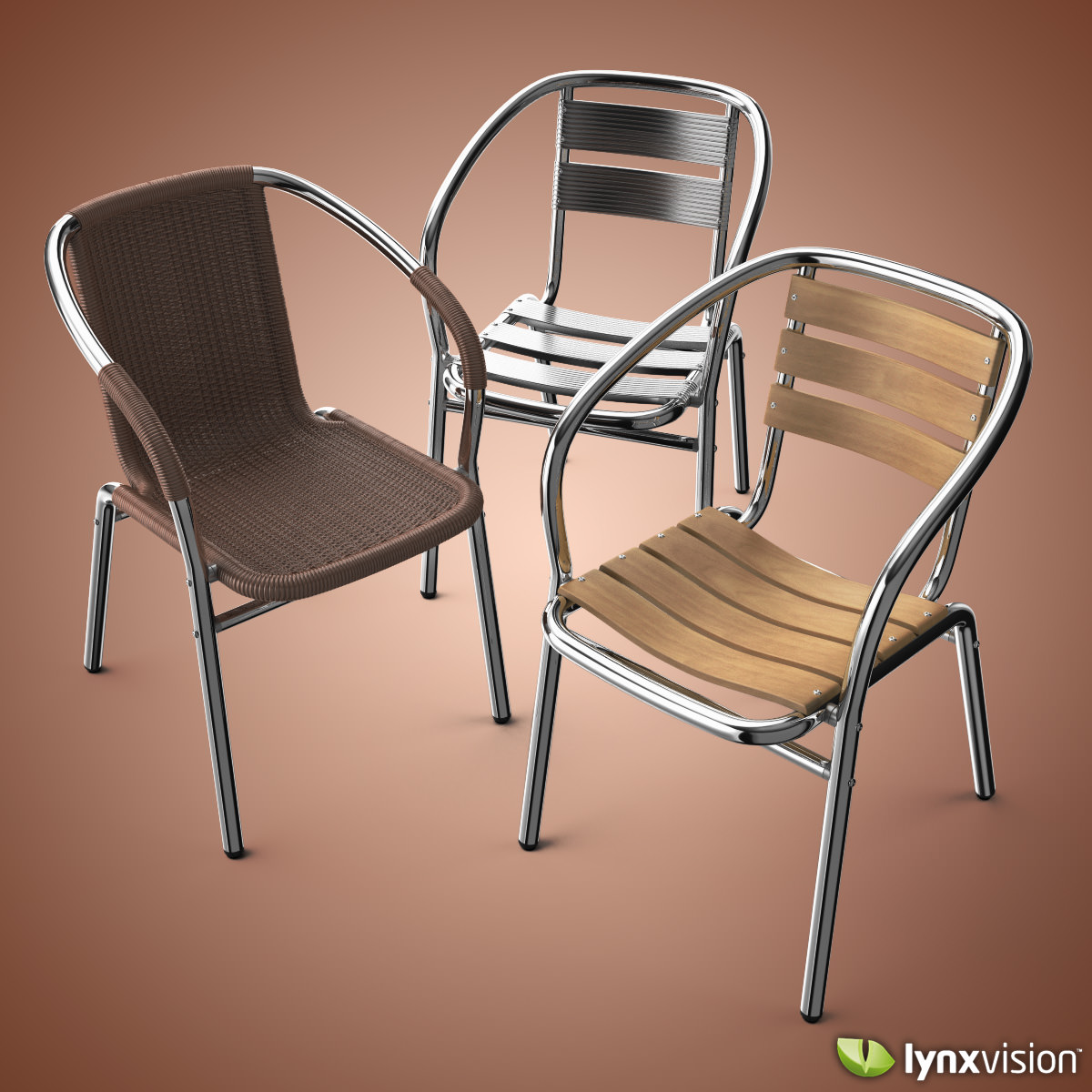 outdoor aluminum chairs collection 3d model max obj fbx c4d lwo lw lws lxo lxl 1