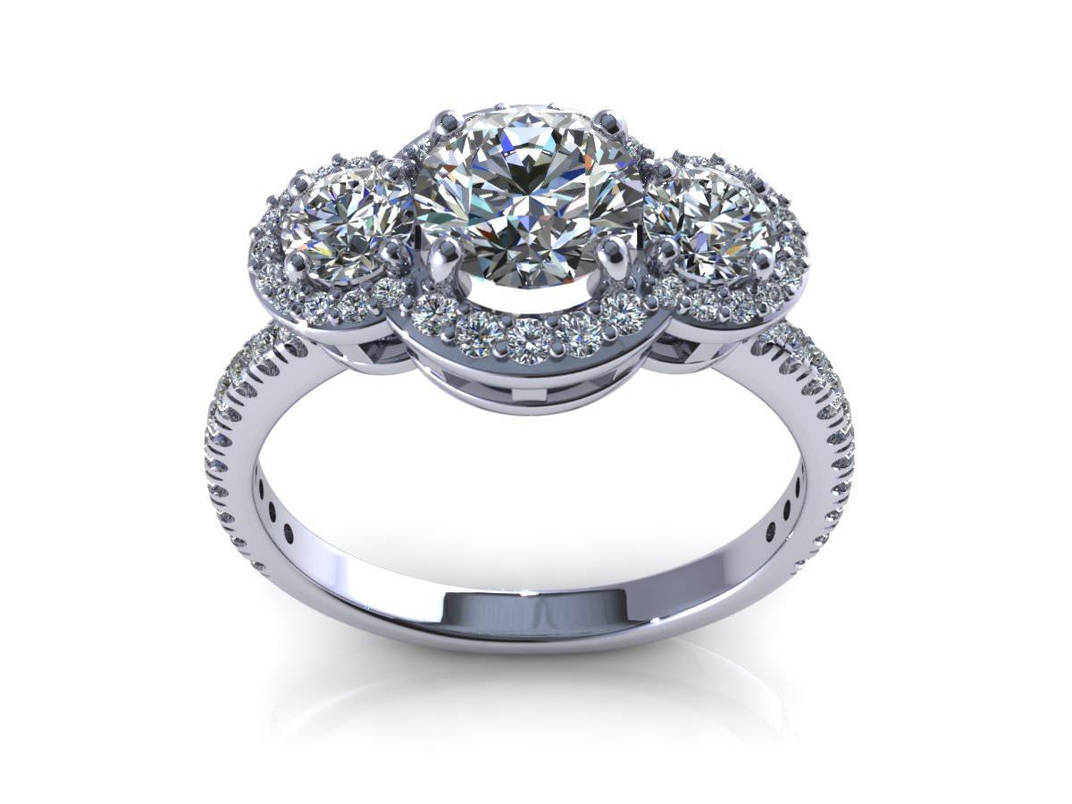 Flower Love Engagement Ring 3D Model STL