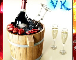 champagne set 2 - bottle flute strawberry and wooden ice bucket 3d model