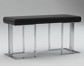 3D Black & Silver Piano Bench