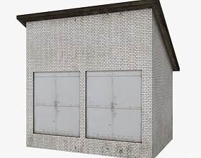 Brick Garage Low Poly 3D model