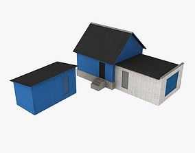 House with garage 3D asset game-ready