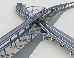 Highway Viaduct flyover 3D model-2 building