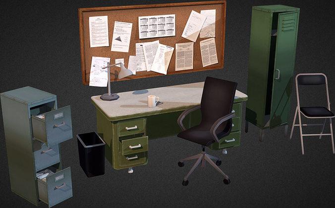 3d Model Office Interior Props Vr Ar Low Poly Max Obj