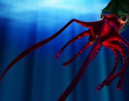 Giant Monster Squid 3D Model