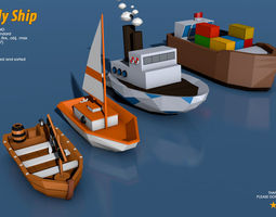 3D asset Low Poly Ship Pack