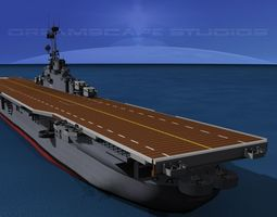 3d model animated essex class aircraft carrier cv-9 uss essex
