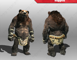 bear man 3d model low-poly rigged max fbx