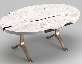 White wood modern table 3D model