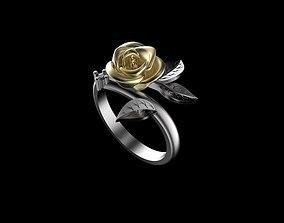 3D print model rose ring gold