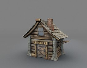 wooden hut 3D asset