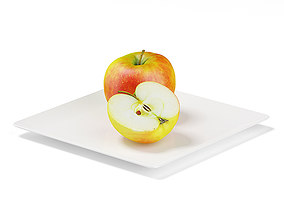 Apples on White Plate 3D