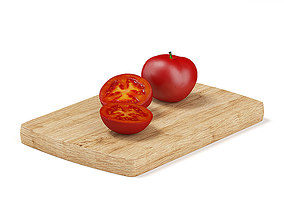 Whole and Sliced Tomato 3D model
