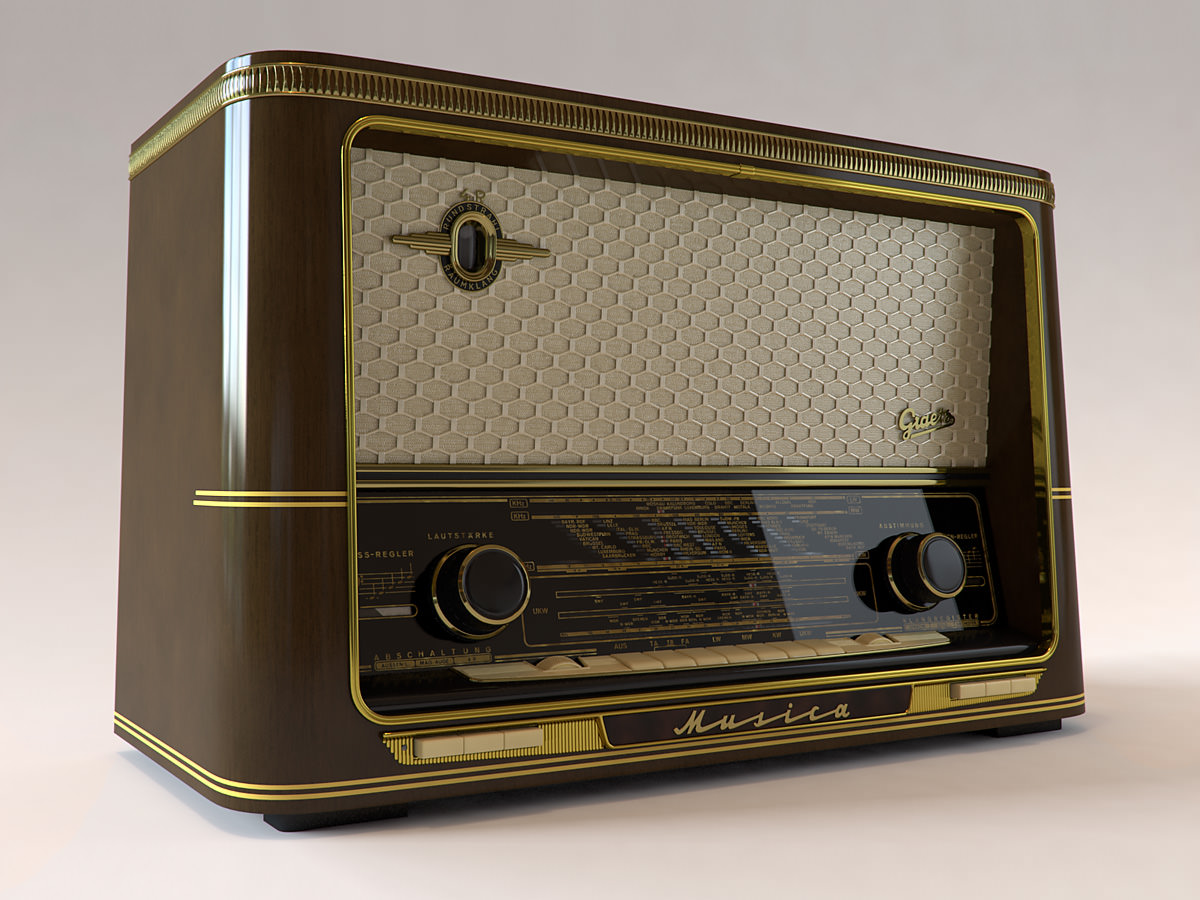 vintage radio graetz musica 3d model max obj. Black Bedroom Furniture Sets. Home Design Ideas
