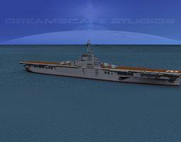 essex class aircraft carrier c-12 uss hornet 3d animated