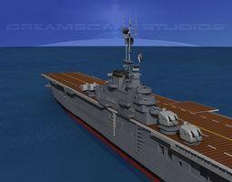 essex class aircraft carrier cv-16 uss lexington animated 3d