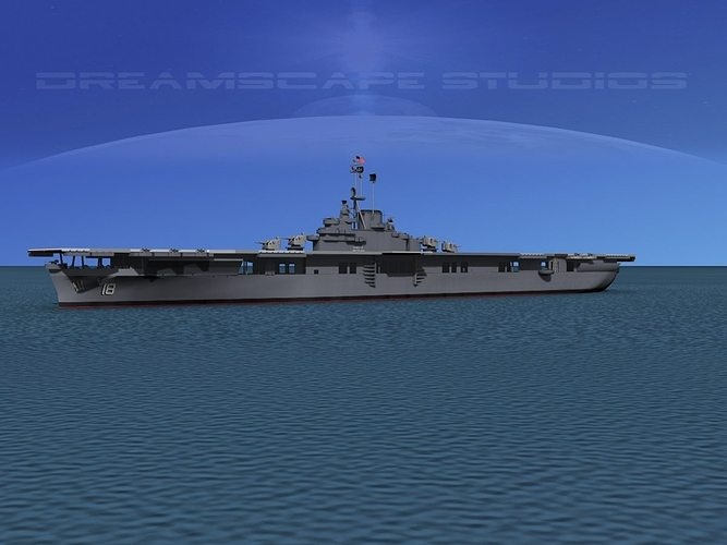essex class aircraft carrier cv-18 uss wasp 3d model animated max obj 3ds lwo lw lws dxf stl 1
