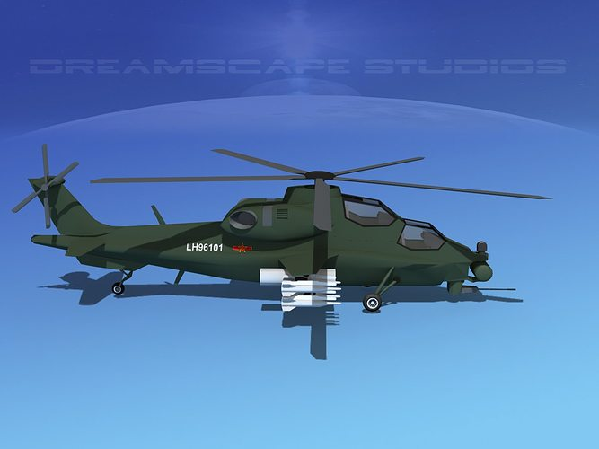 wz-10 attack helicopter  3d model low-poly rigged max obj 3ds lwo lw lws dxf stl 1