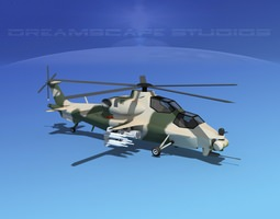 WZ-10 Attack Helicopter V05 3D asset
