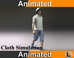 3D model walking teenager male