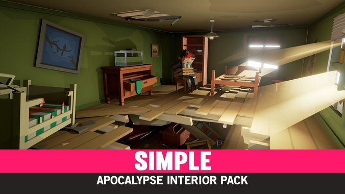 simple apocalypse interiors - cartoon assets 3d model low-poly fbx unitypackage prefab mat uasset 1