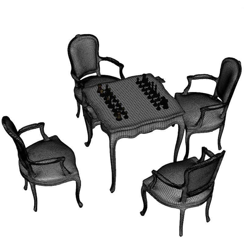 3d model chess table armchairs vr ar low poly obj mtl for Ar 11 6 table 6 2