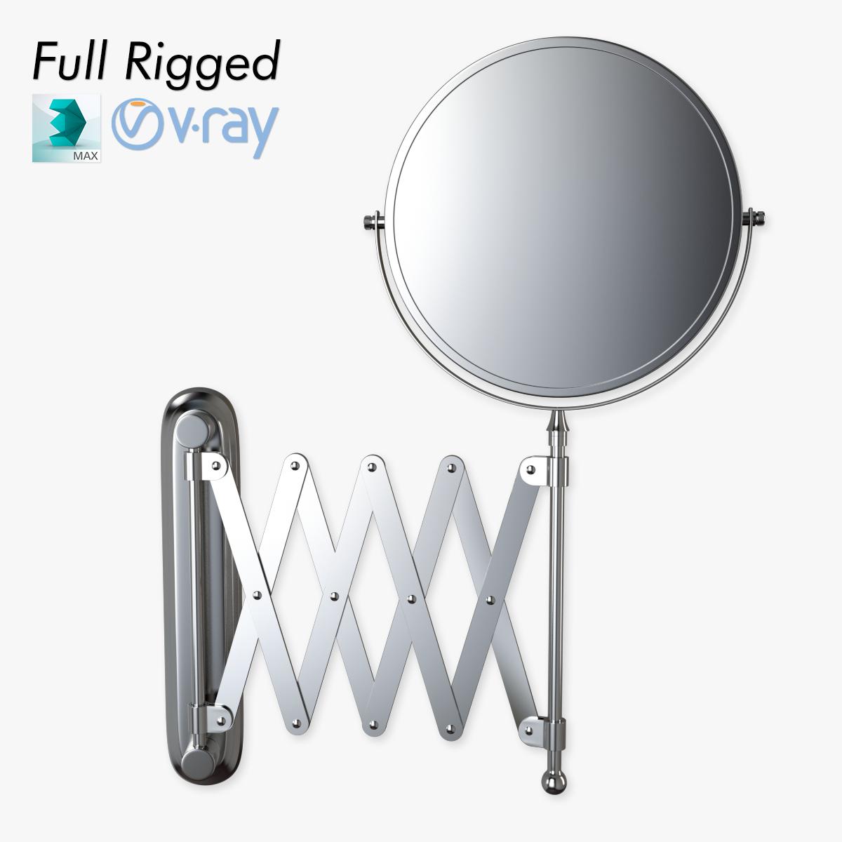 scissor wall mirror rigged 3d model rigged animated max obj fbx 5