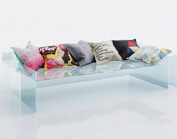 Colorful cushions with pictures 3D model