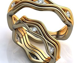 diamond-ring gold 3D print model Gold Metal Rings