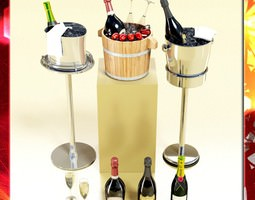 champagne ice bucket collection 3d