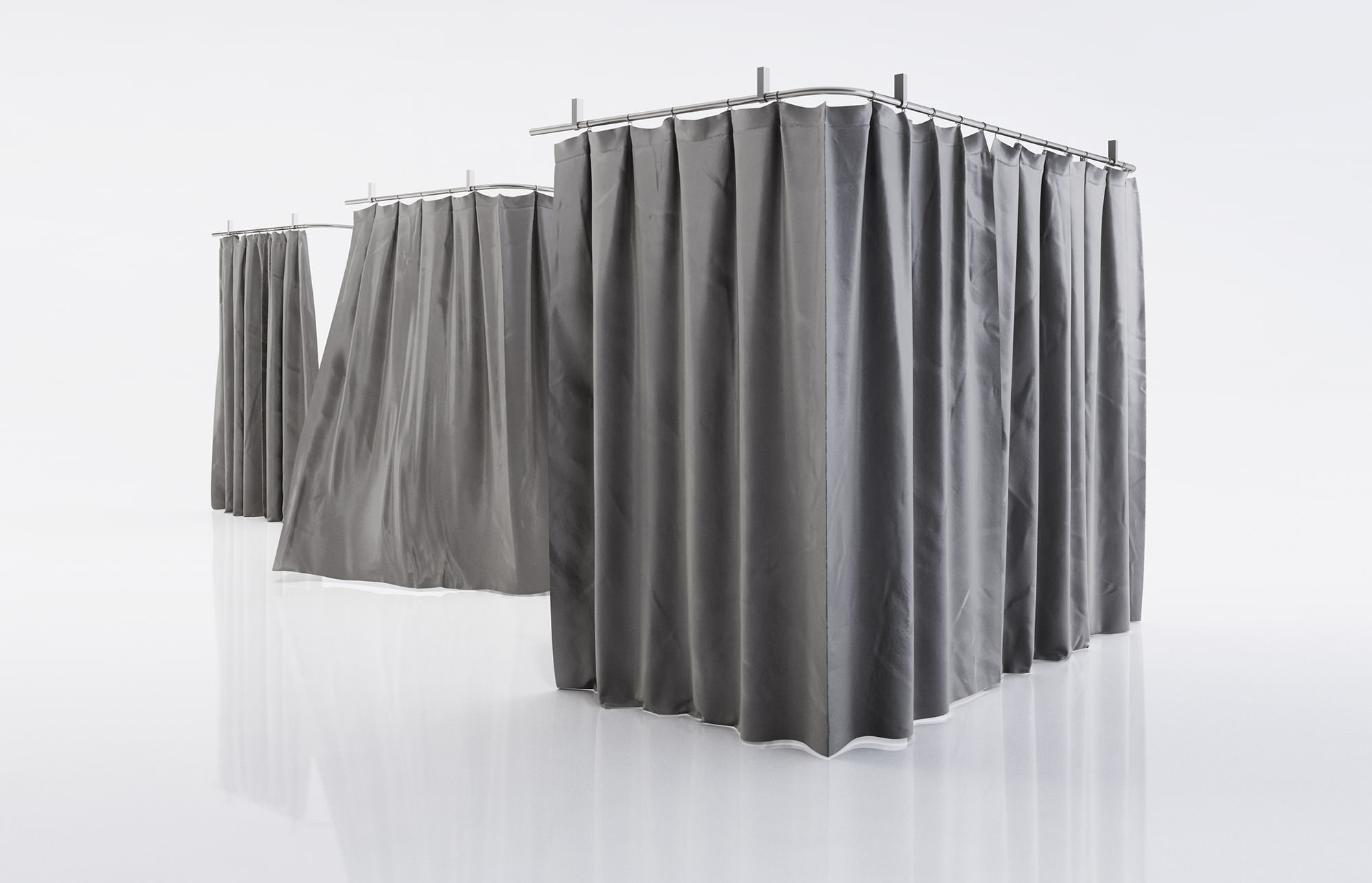Black Shower Curtains 3d Model Max Obj Fbx C4d 1