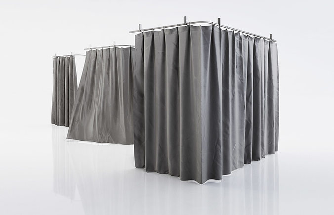 Black Shower Curtains 3D Model