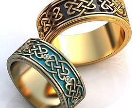 3D print model wedding accessory Gold Metal Rings