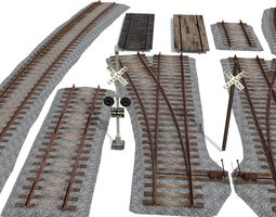 Railroad Track Pack 3D asset