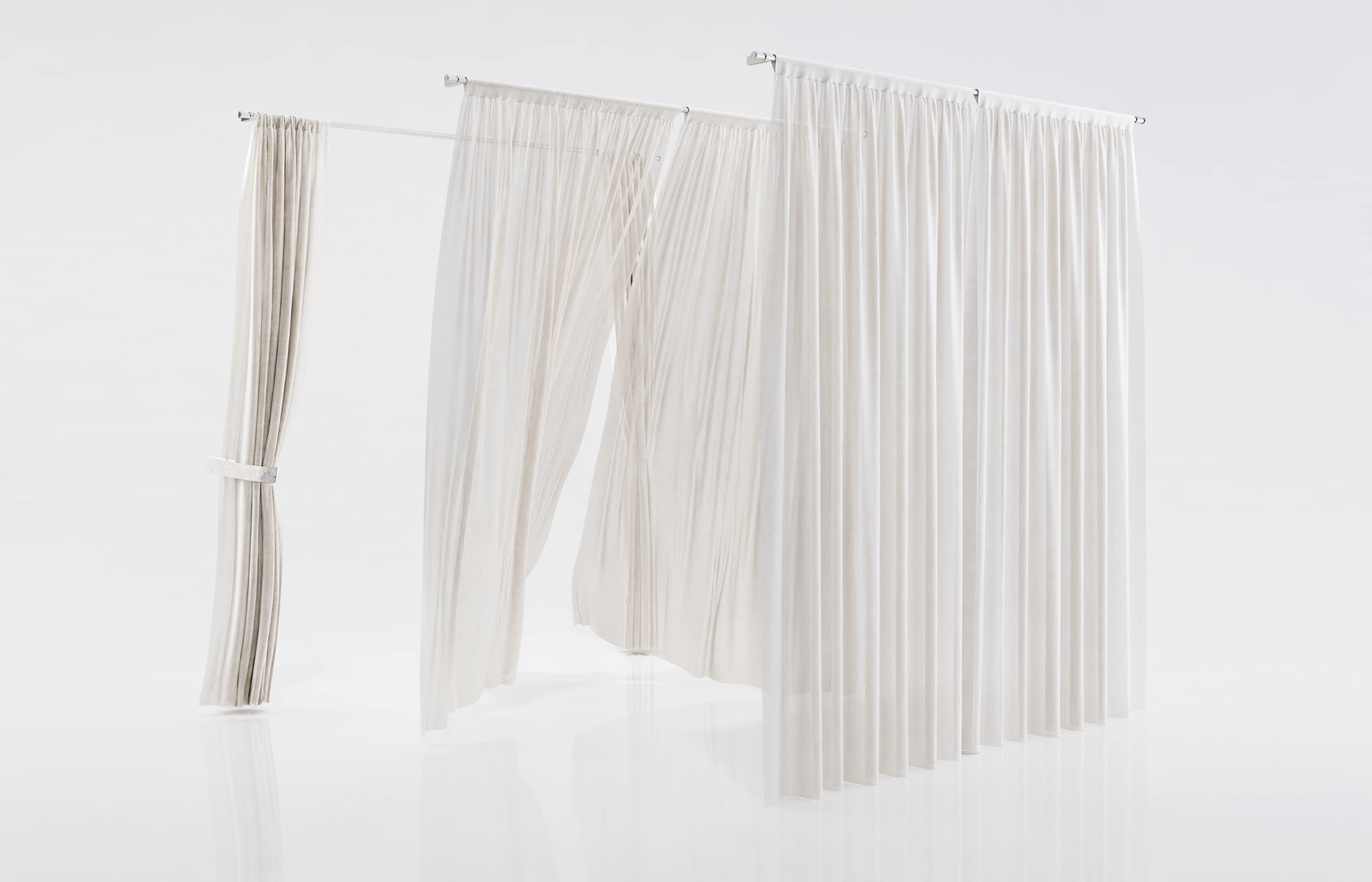 White window curtains - White See Through Window Curtains 3d Model Max Obj Fbx C4d 1