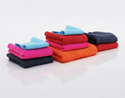 bundle of multicolored small and big towels 3d