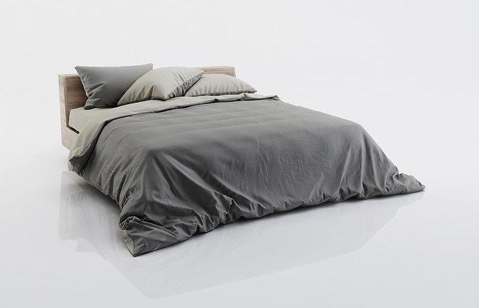 dark and grey bed linen 3d model max obj fbx c4d 1