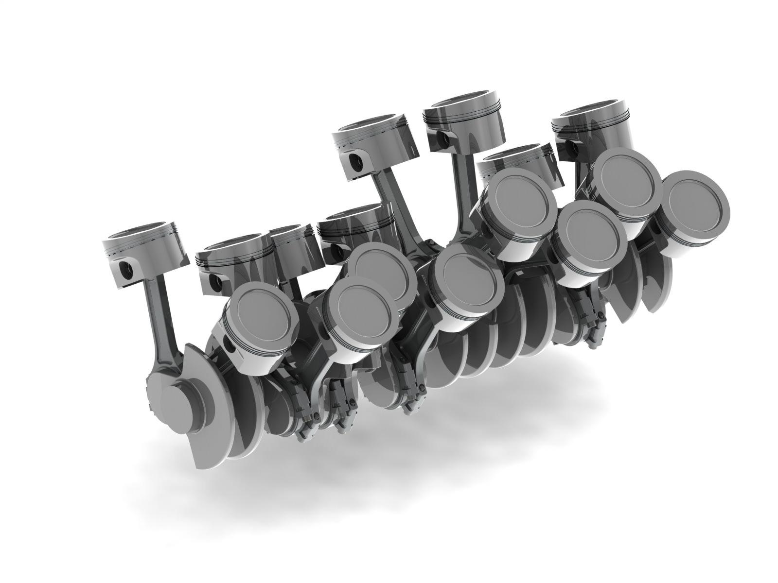 W16 engine cranktrain 3d model