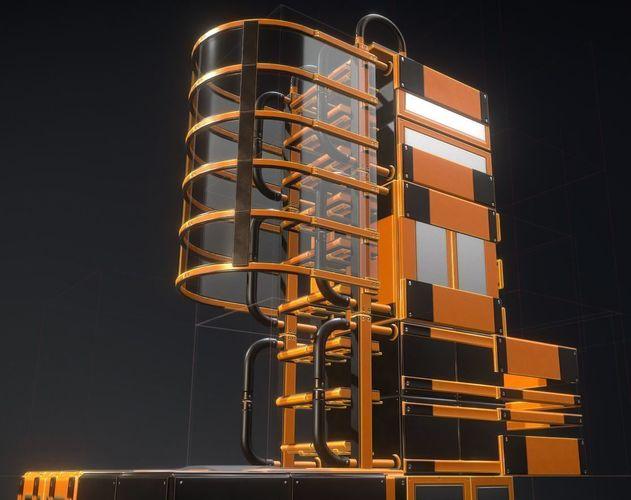 futuristic ladders orange painted metal modular  3d model low-poly obj mtl 3ds fbx stl blend dae 1