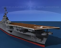 animated ticonderoga class carrier cv-14 uss ticonderoga 3d model
