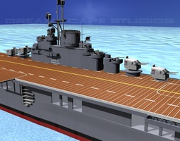 ticonderoga class carrier cv-19 uss hancock animated 3d model