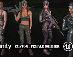 Customizable Female Soldiers Classic and Modern 3D model