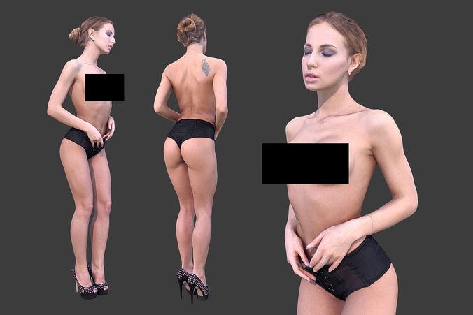 topless woman 3d model low-poly max obj mtl fbx 1