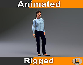 3D casual woman animated 02