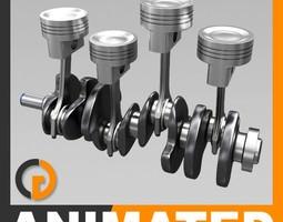 animated l4 engine cylinders 3d model max obj 3ds fbx c4d lwo lw lws