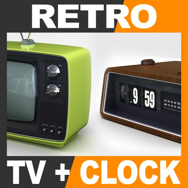 retro style television set and radio alarm flip clock 3d. Black Bedroom Furniture Sets. Home Design Ideas