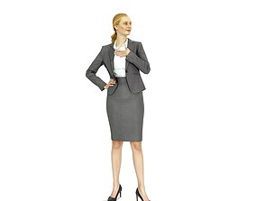 3D Business woman in a grey suit BWom0317-HD2-O01P01-S